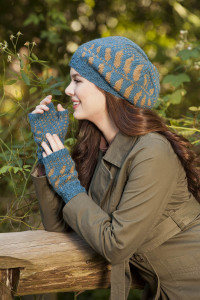 Wraparound Leaves Beret and Mitts