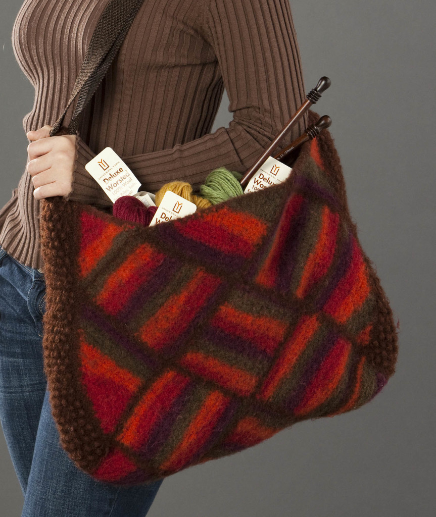 Deluxe Worsted Felted Faux Entrelac  Crochet Tote__detail_blog