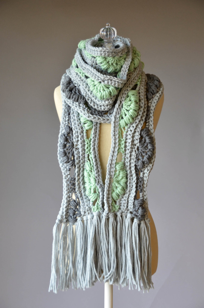 DBS Gray and Green Scarf wrapped blog