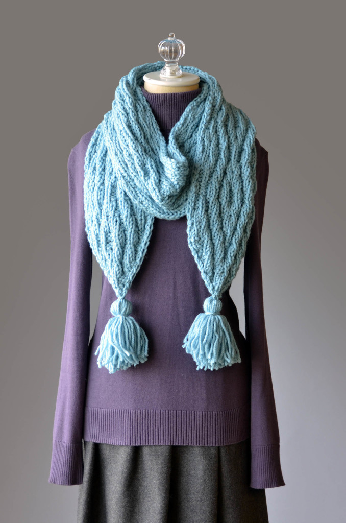 Deluxe Bulky Superwash Tassel Scarf wrapped blog