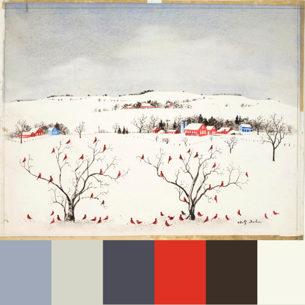 Red Birds in Snow 1959 composite