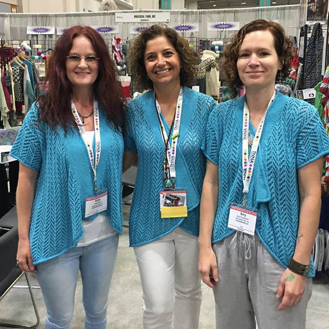 Katie, Yonca, and Amy are ready to show off some yarn!