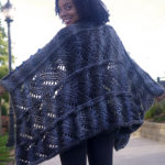 Wear this piece buttoned as a poncho or loose as a wrap.  Your choice!