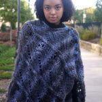 The Caldwell Poncho is worked in four identical strips that are joined with a crochet slip-stitch seam.