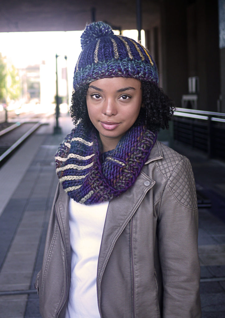 The Trade Street Hat and Cowls feature an applied crochet stripe. No carrying colors on the back side! The pattern comes with both long and short versions of the cowl.