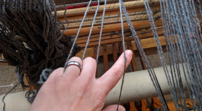 It's important to make sure the ends coming from the heddles go into the reed in the correct order.