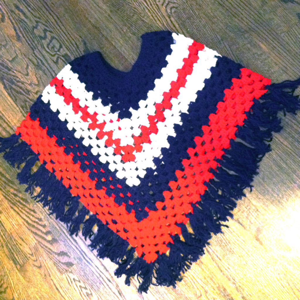vintage red white and blue fringed crochet poncho