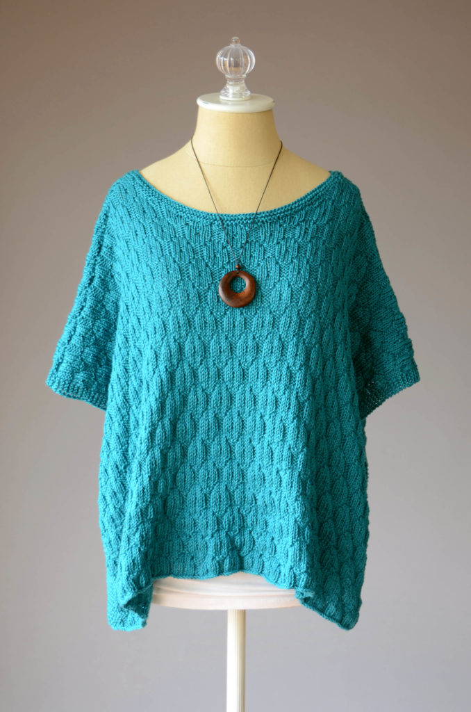 Easy knit rectangle poncho is DK cotton yarn - free pattern