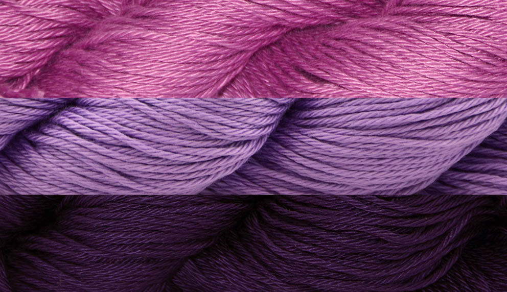 Image of three shades of Radiant Cotton from magenta to purple