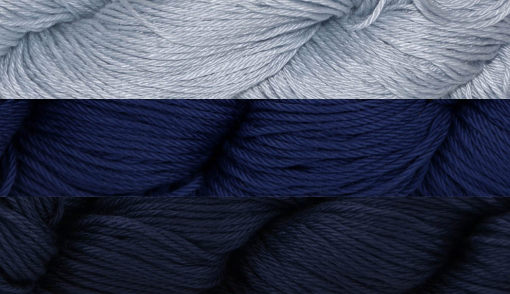 Image of three shades of blue Radiant Cotton Yarn