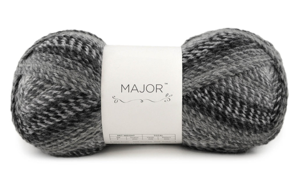An image of a black and gray ball of yarn labeled MAJOR.