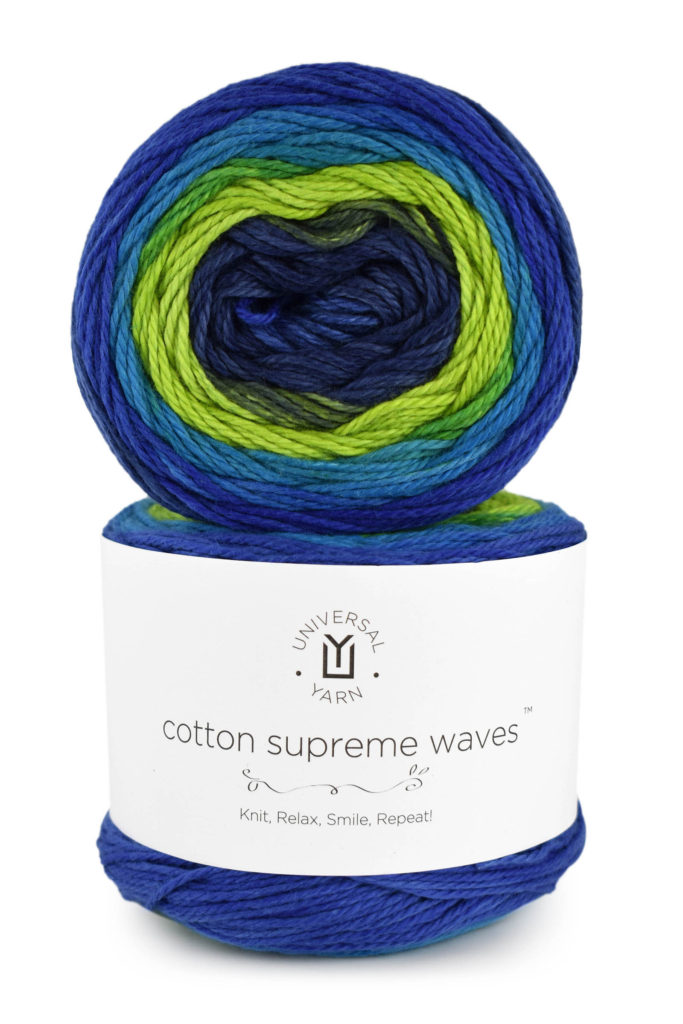 Blue and green yarn cakes of Cotton Supreme Waves